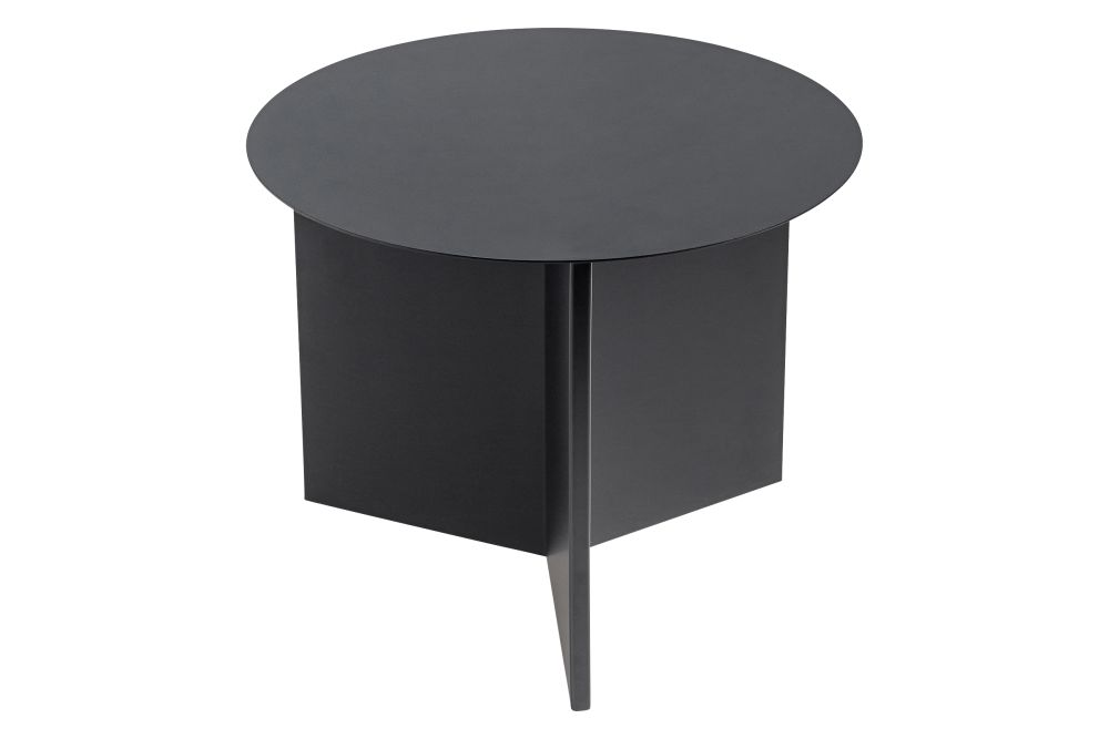 Slit Round Side Table Metal Black By Hay