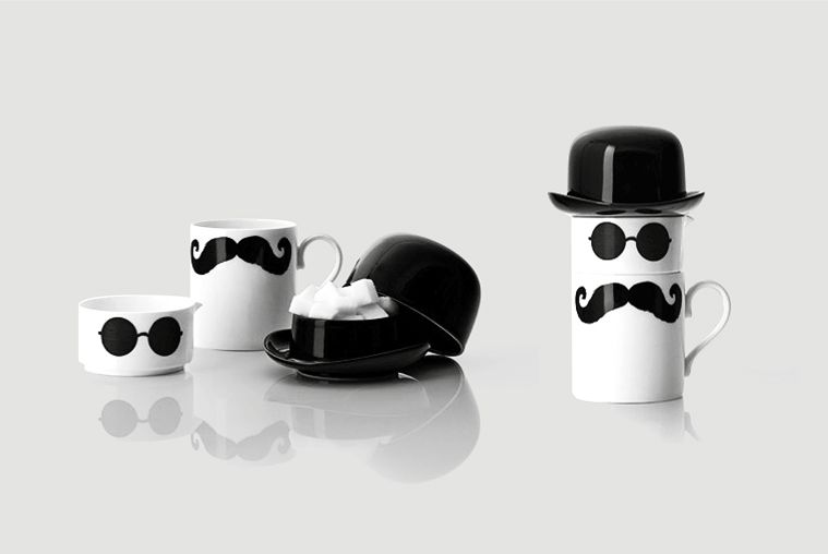 Original moustache mug, creamer and sugar bowl set by Peter Ibruegger Studio