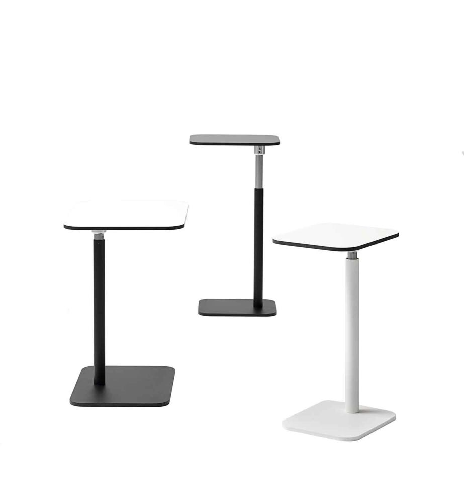Black Compact Laminate, White Powder Coated, 40w x 32d,Icons Of Denmark,Coffee & Side Tables,furniture,table