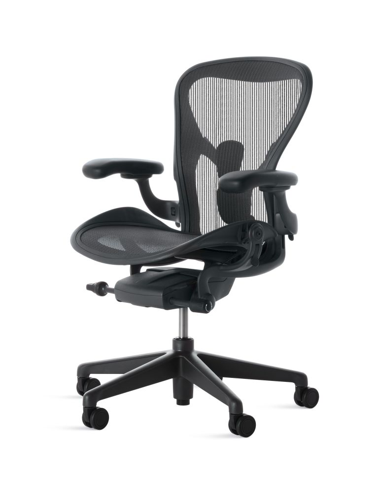 Graphite Base with Graphite Seat,Herman Miller,Task Chairs,black,chair,furniture,line,office chair,product