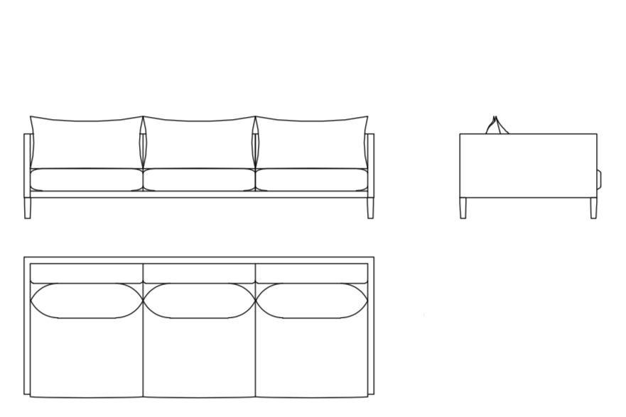Josh 2 Seater Sofa 190 Ash Grey H,Moroso,Sofas,diagram,line