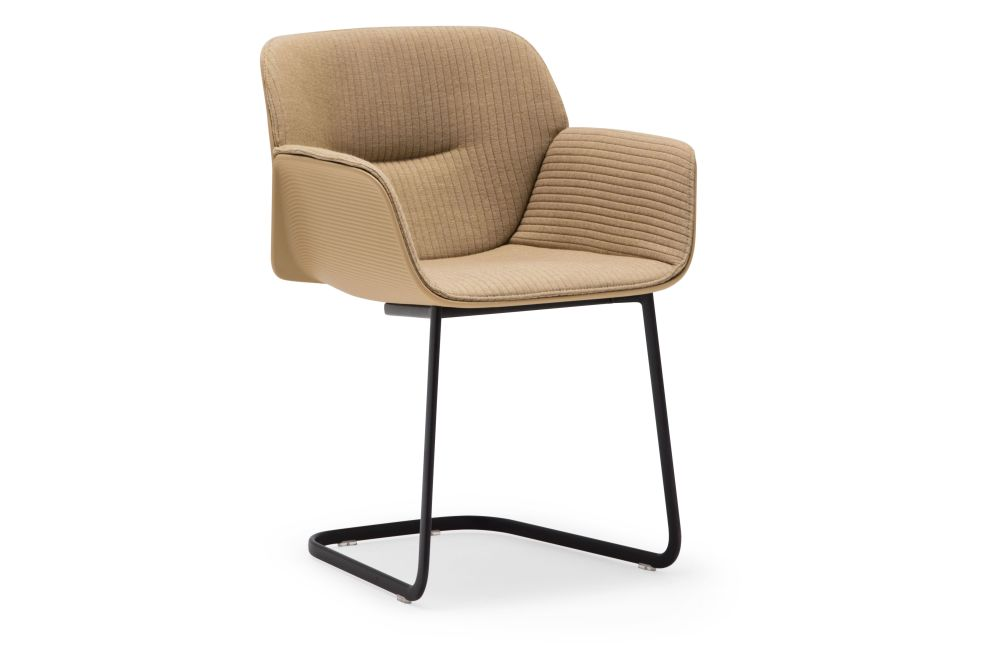 Nuez Cantilever Base Armchair with Seat and Backrest Cushion Andreu World  Jacquard One, Thermo-polymer finish 6000, Steel finish CRB by Andreu World