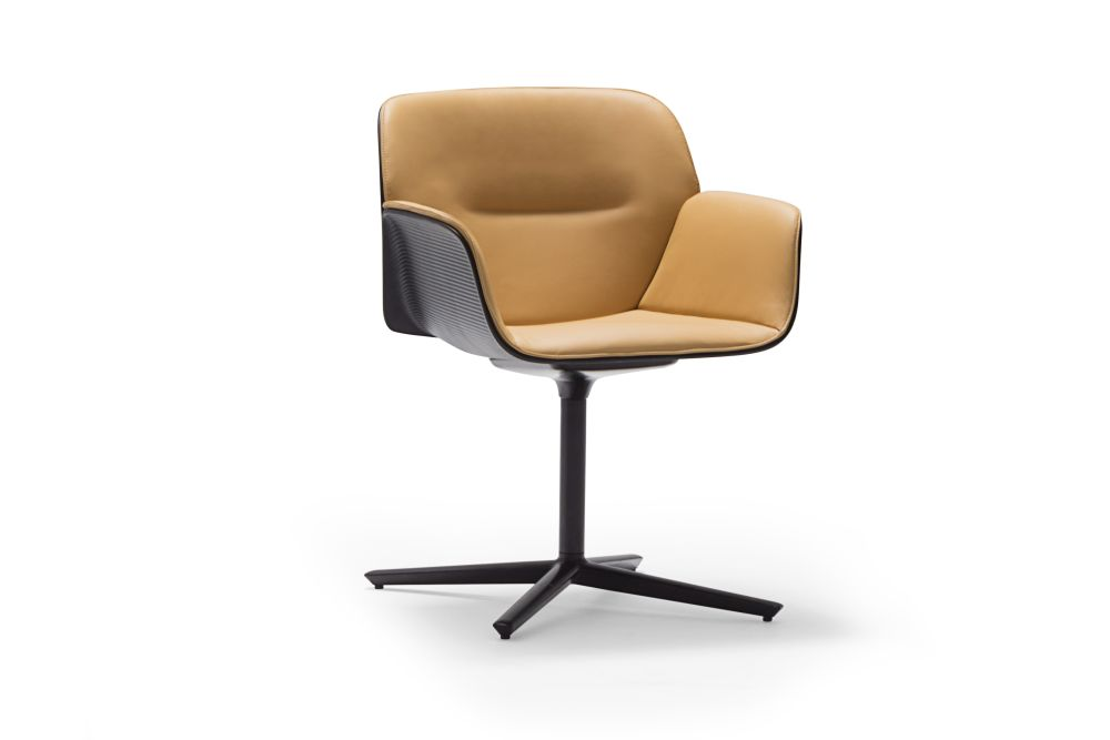 Nuez 4-Star Swivel Base Armchair with Seat and Backrest Cushion by Andreu World