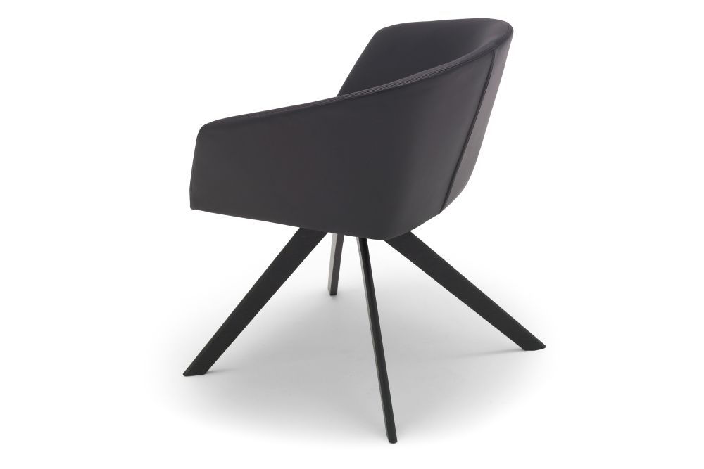 Brandy Wood Base Swivel Armchair by Andreu World