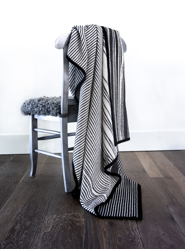 Forest Cotton Blanket,IHANNA HOME,Blankets & Throws,black-and-white,chair,design,furniture,linens,pattern,textile,white