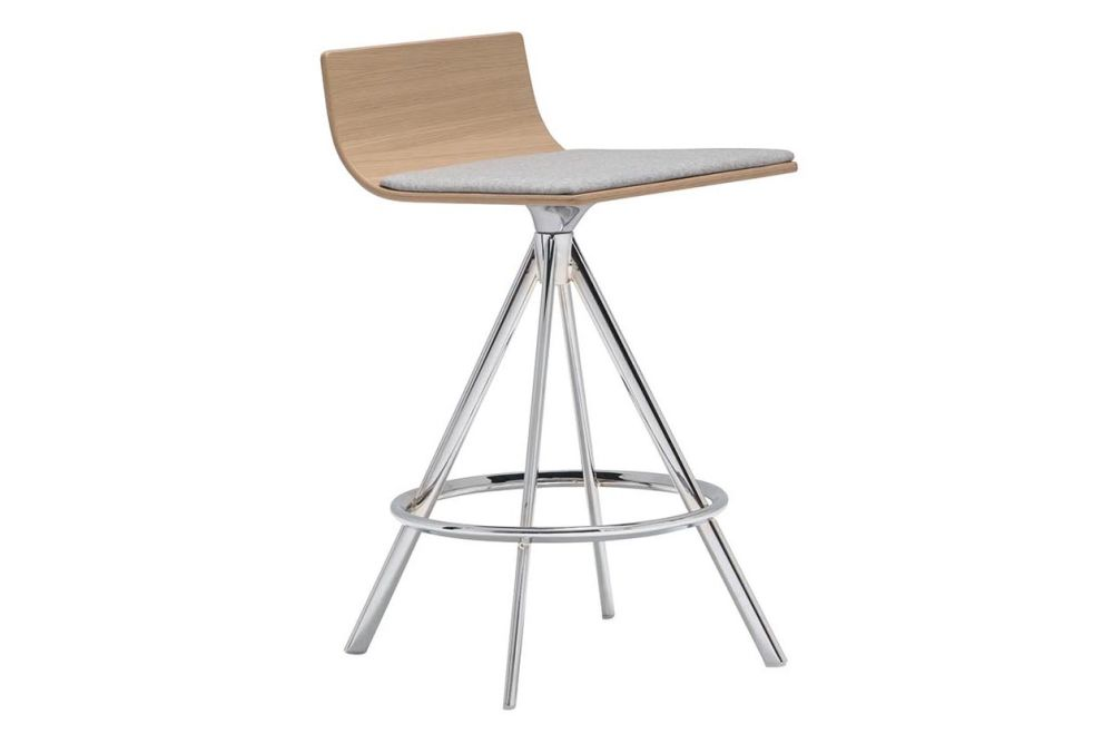 Andreu World Main Line Flax, Wood finish Oak, Polished Chrome Steel,Andreu World,Workplace Stools,bar stool,chair,furniture,stool,table