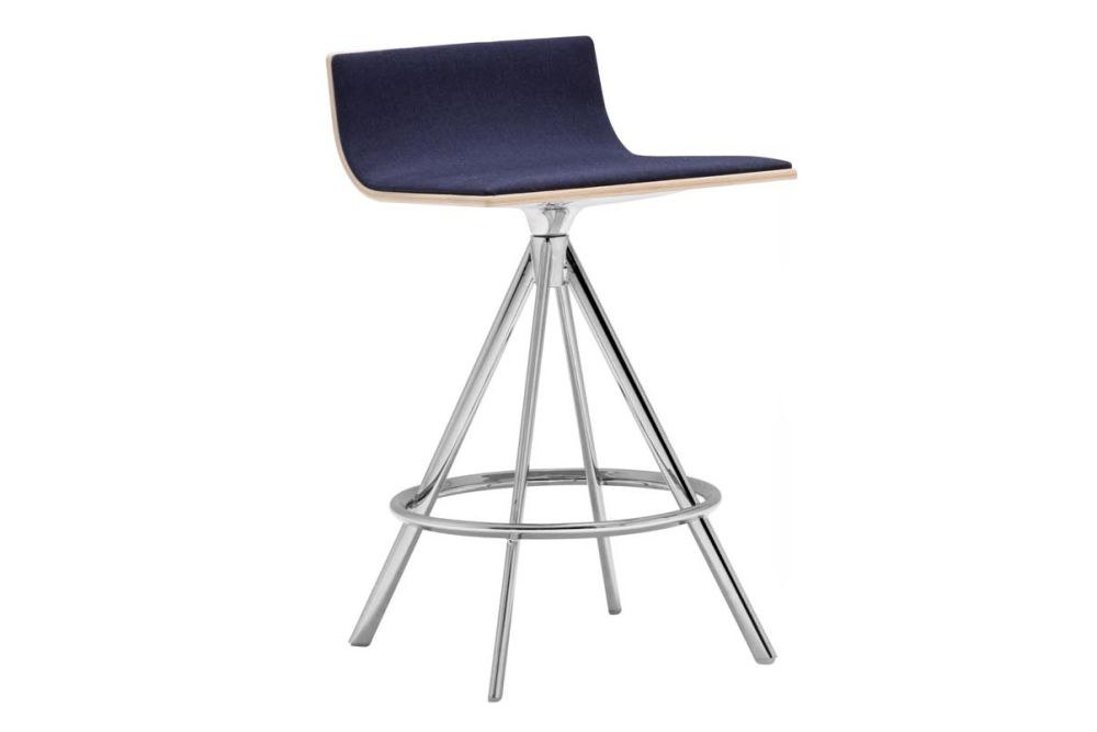 Lineal Swivel Base Counter Stool with Upholstered Shell by Andreu World