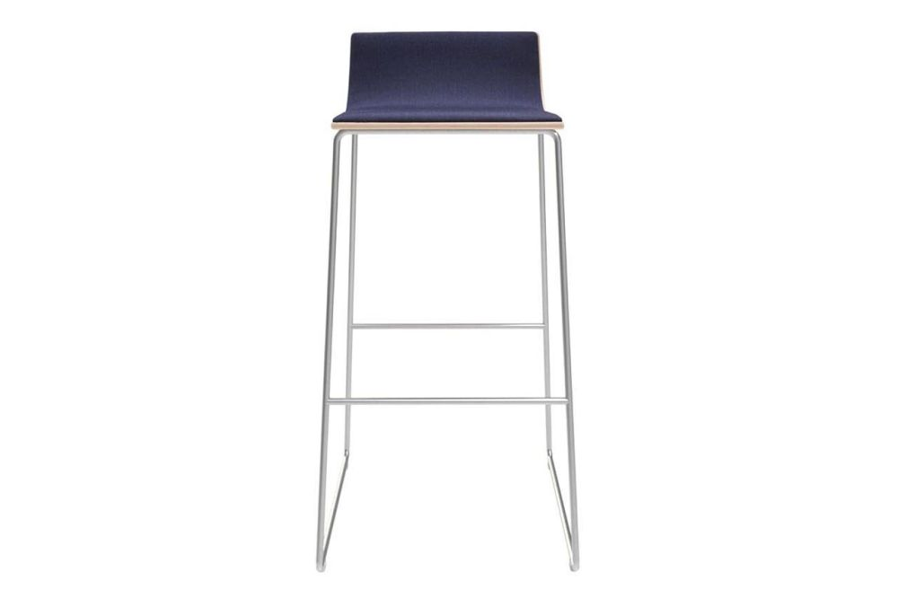 Lineal Sled Base Bar Stool with Upholstered Shell by Andreu World