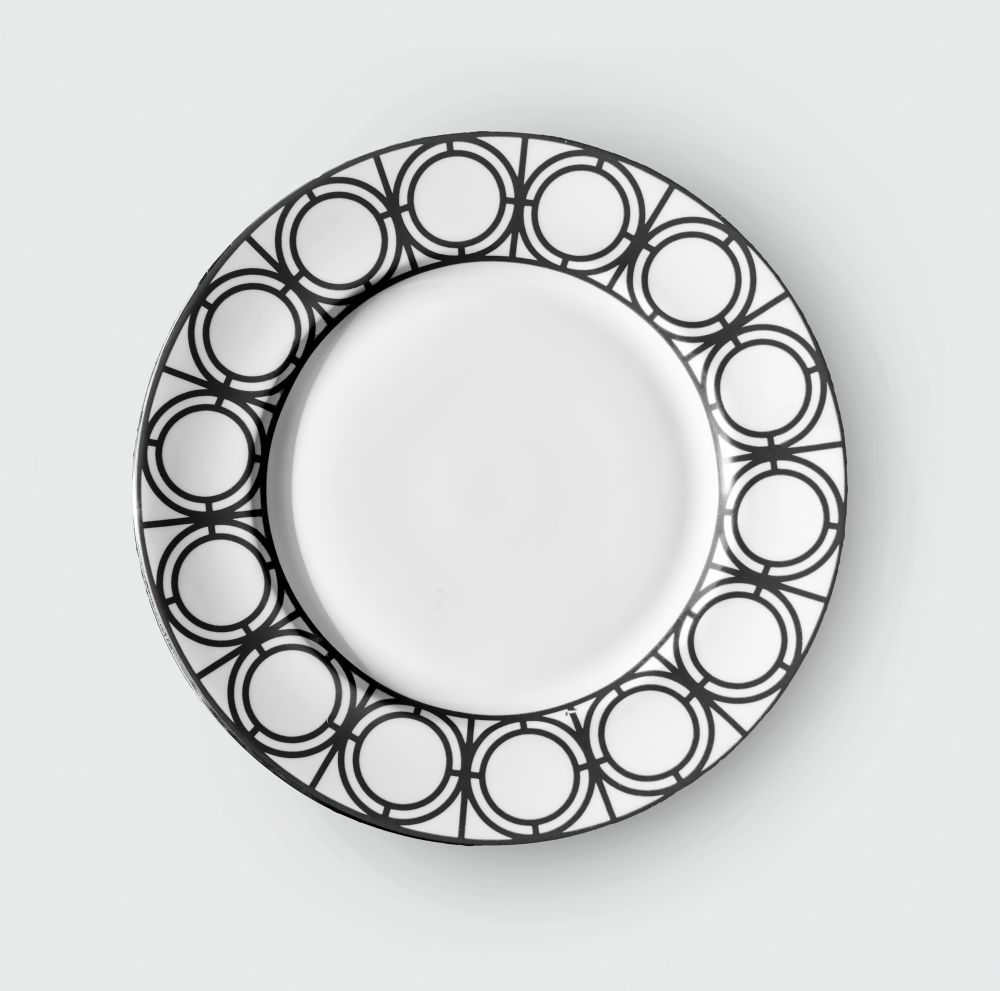 PALLADIAN BLACK SIDE PLATE,CUSTHOM,Accessories,circle,dishware,plate,saucer,serveware,tableware