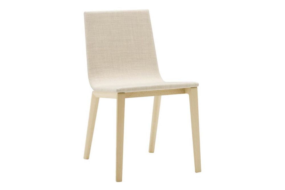 Lineal Wood Base Chair with Upholstered Shell Pad Set of 2 by Andreu World