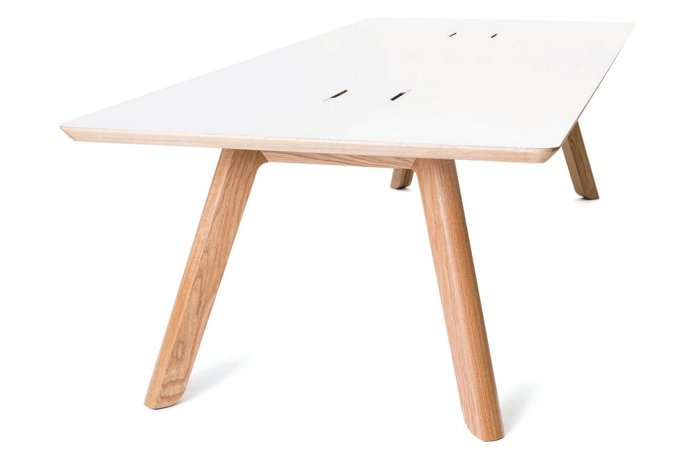 White, Oak, 200w x 100d x 75h,Connection,Co-working Benches,coffee table,desk,furniture,outdoor table,plywood,stool,table