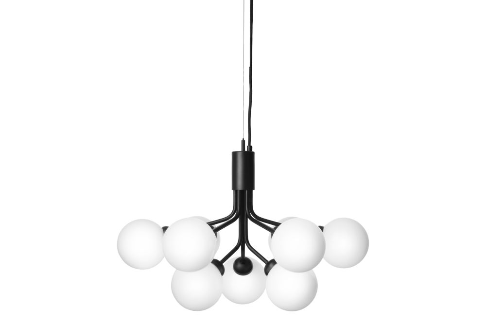 Satin Black,Nuura,Chandeliers,ceiling,ceiling fixture,lamp,light,light fixture,lighting,lighting accessory,product,white
