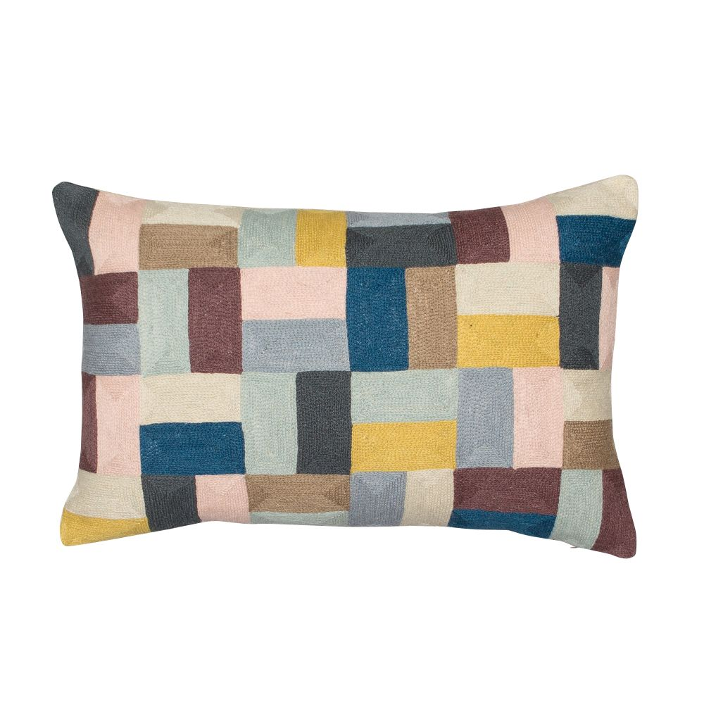 Pojagi Cushion Rectangular,Niki Jones,Cushions,beige,brown,cushion,furniture,home accessories,linens,patchwork,pattern,pillow,product,rectangle,teal,textile,throw pillow,turquoise,yellow