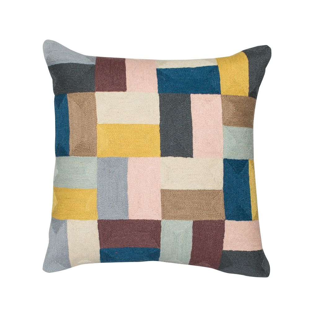 Pojagi Square Cushion,Niki Jones,Cushions,aqua,beige,brown,cushion,furniture,home accessories,linens,patchwork,pattern,pillow,rectangle,teal,textile,throw pillow,turquoise,yellow