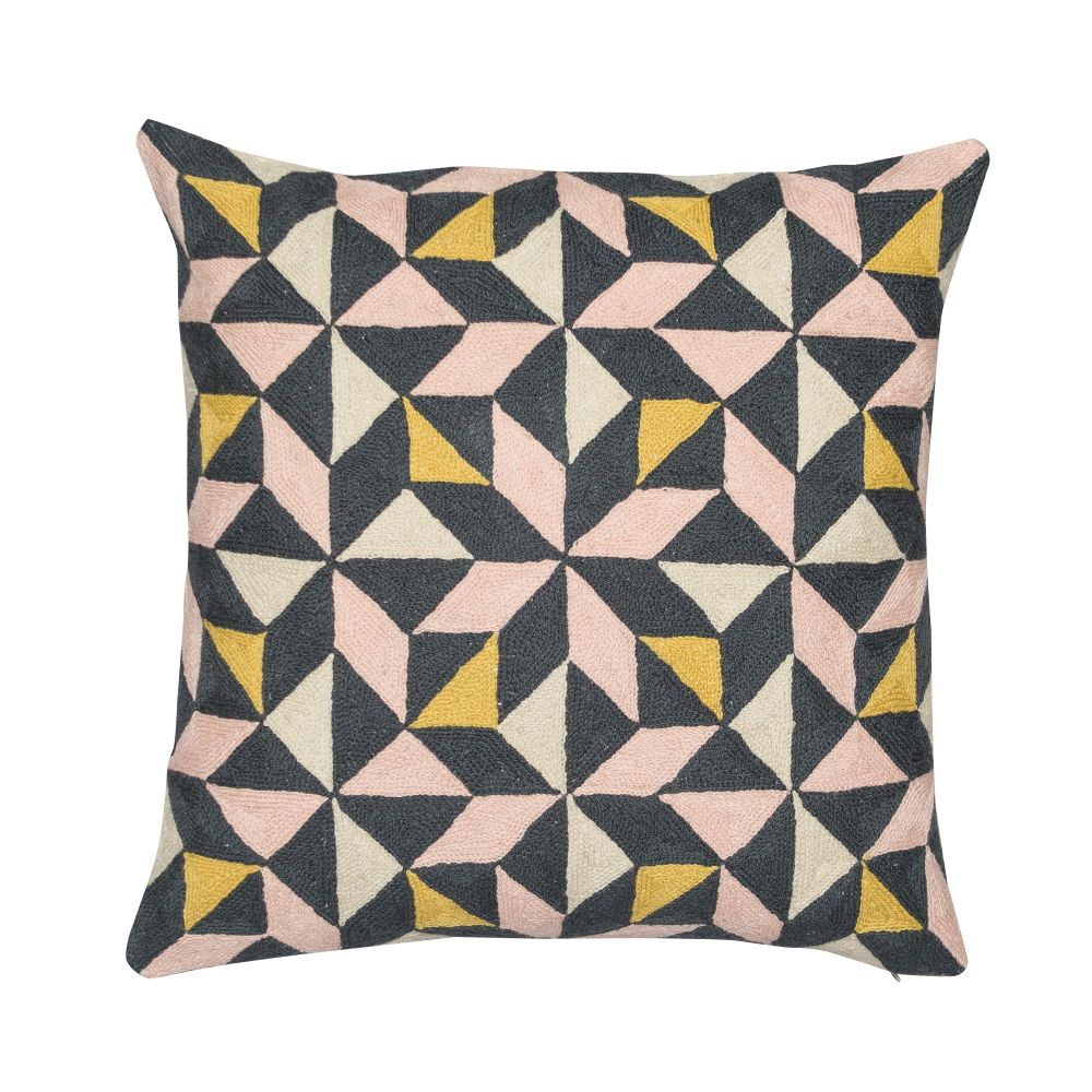 Kaleidoscope Cushion Multi,Niki Jones,Cushions,brown,cushion,design,furniture,pattern,pillow,teal,textile,throw pillow,triangle,yellow