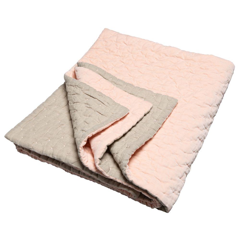 Velvet Linen Throw Nude,Niki Jones,Blankets & Throws,beige,linens,textile