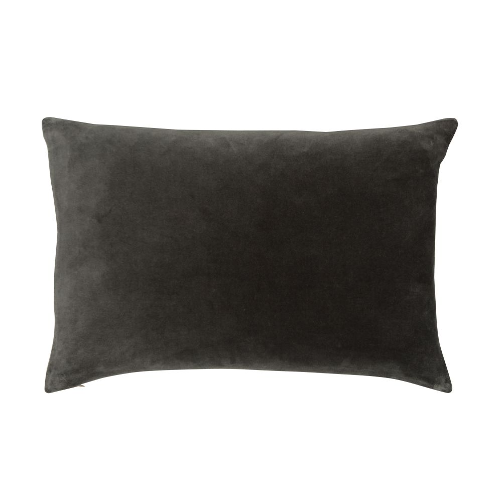Velvet Linen Cushion Slate,Niki Jones,Cushions,black,brown,cushion,furniture,leaf,leather,linens,pillow,rectangle,textile,throw pillow