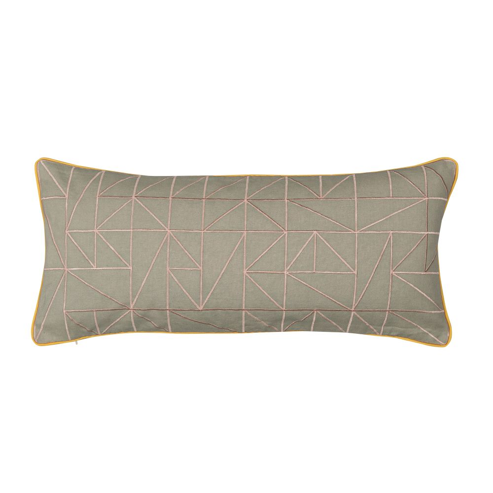 Linear Cushion Chartreuse & Dove Grey,Niki Jones,Cushions,bedding,beige,brown,cushion,furniture,green,leaf,linens,pillow,rectangle,textile,throw pillow
