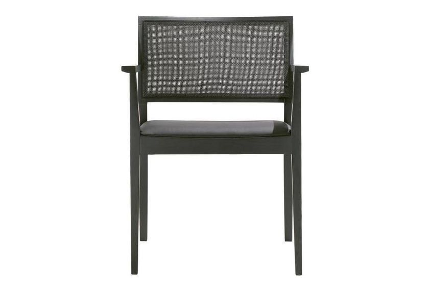 Manila Low Back Chair with Arms and Upholstered Seat by Andreu World