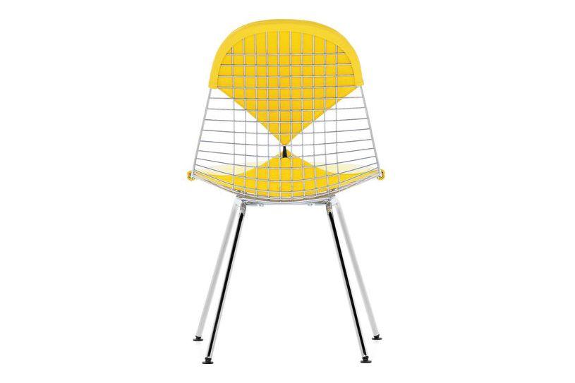 30 basic dark powder-coated, 05 felt basic dark for hard floor, Hopsak 71 yellow/pastel green,Vitra,Dining Chairs,chair,furniture,line,yellow