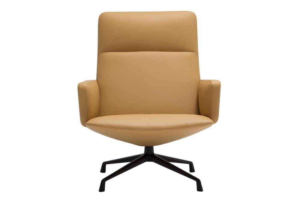 Capri 4-Star Base Lounge Chair with Upholstered Shell and Arm by Andreu World
