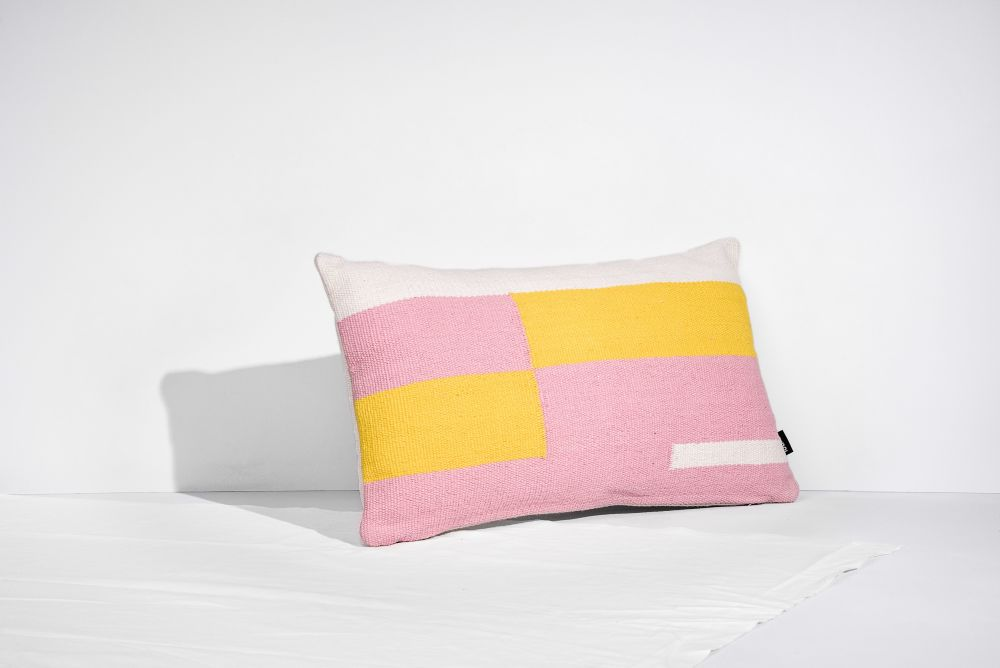 Jamakhan Stripe, Pink & Yellow, Rectangle,Tiipoi,Cushions,cushion,design,furniture,linens,pillow,pink,product,textile,throw pillow,yellow