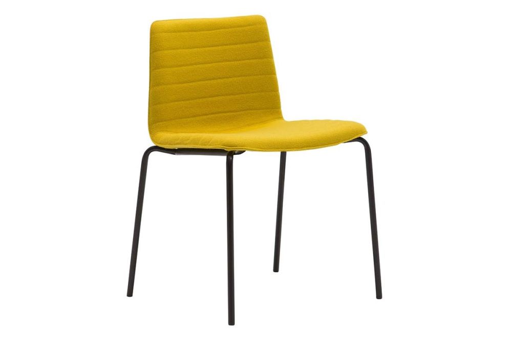 Andreu World Jacquard One, Polished Chrome Steel,Andreu World,Breakout & Cafe Chairs,chair,furniture,yellow