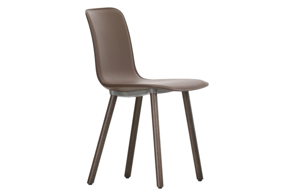 HAL Wood Base Dining Chair - Leather Upholstered by Vitra
