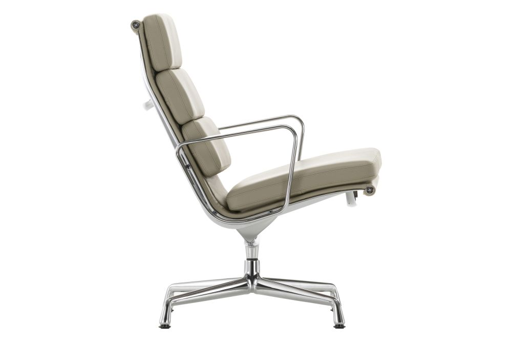 04 Glides for carpet, Leather 72 snow, polished aluminium,Vitra,Armchairs,beige,chair,furniture,line,office chair,product