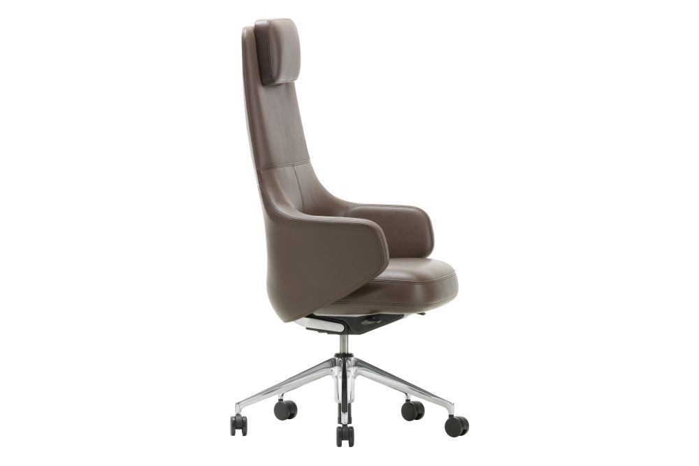 Leather 72 snow, 02 castors hard,Vitra,Task Chairs,chair,furniture,line,office chair,product