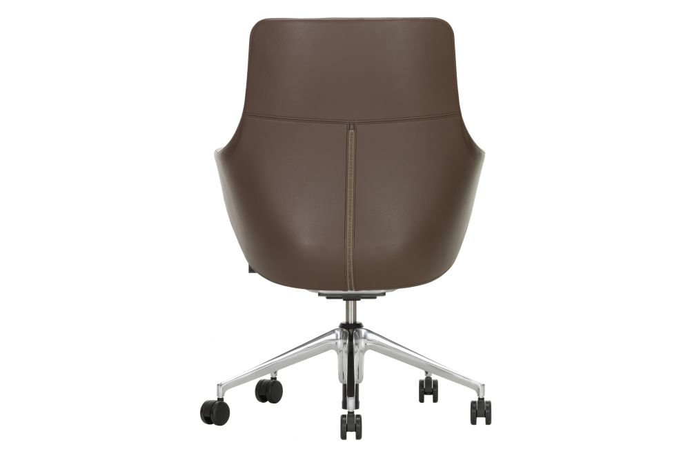 Leather 72 snow, 02 castors hard,Vitra,Task Chairs,brown,chair,furniture,leather,office chair,wood