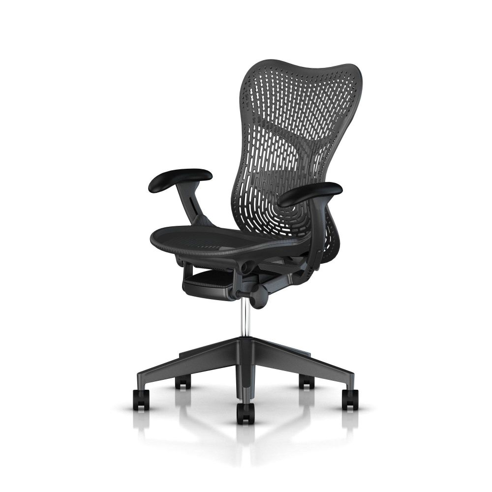 Fully Adj Arms / FlexFront Seat / Full Spec Tilt / Fog Studio White Base Frame & Back / Alpine Butterfly Back / Fog Armpads / Alpine 1A701 AireWeave,Herman Miller,Task Chairs