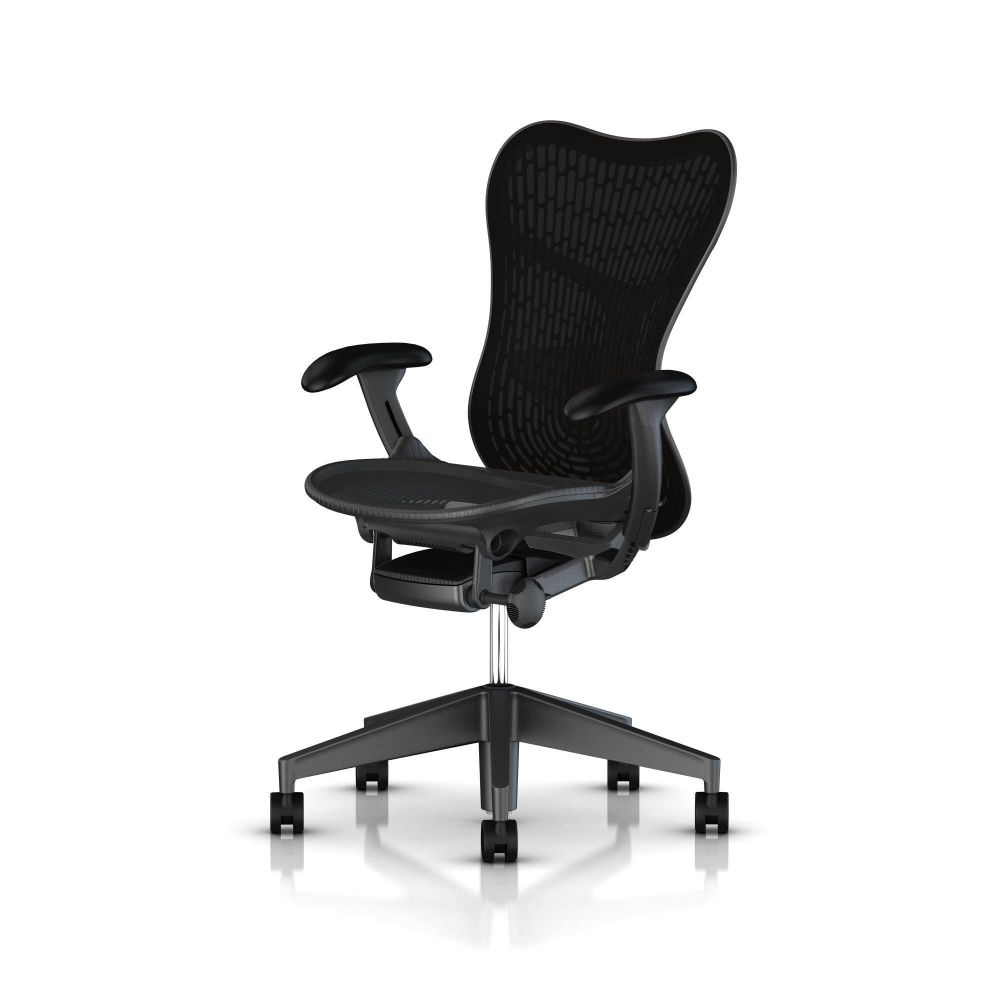 Fully Adj Arms / FlexFront Seat / Full Spec Tilt / Graphite Base Frame & Back / Black TriFlex Polymer Back / Black Armpads / Graphite 1A703 AireWeave,Herman Miller,Task Chairs