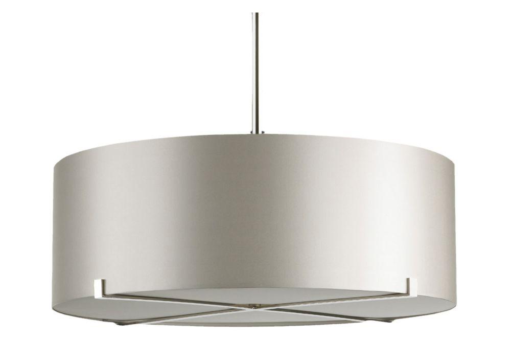 Dove grey silk shade with silk diffuser, polished nickel cross, drop rod 100,CTO Lighting,Pendant Lights