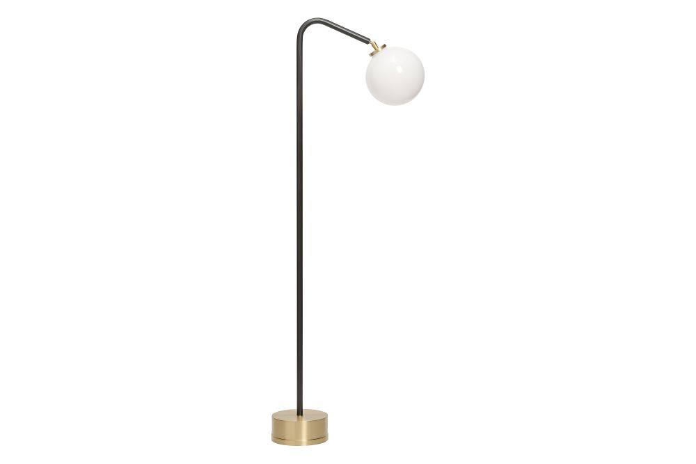Bronze stem with satin brass base and opal glass shade - EU plug,CTO Lighting,Floor Lamps