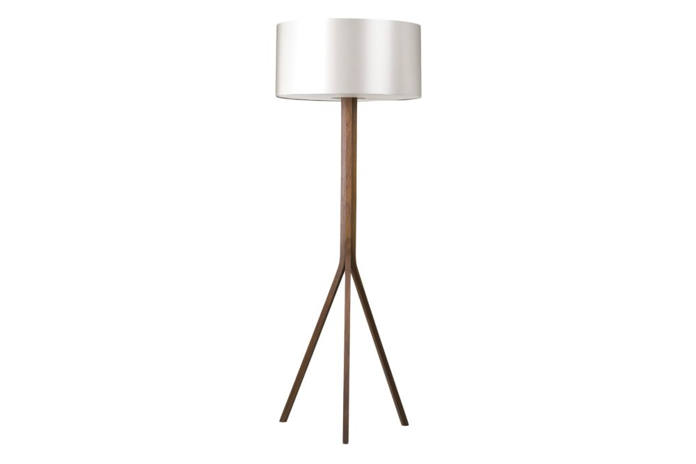 Solid walnut base with dove grey silk shade and silk diffuser - EU plug,CTO Lighting,Floor Lamps