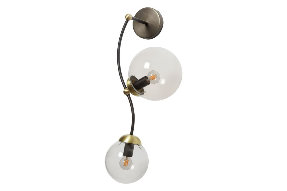 Bronze with satin brass details and opal glass shades,CTO Lighting,Wall Lights