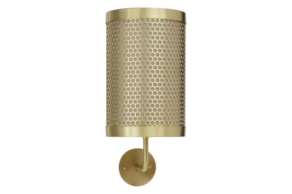 Satin brass base with satin brass perforated drum and sand linen shade,CTO Lighting,Wall Lights