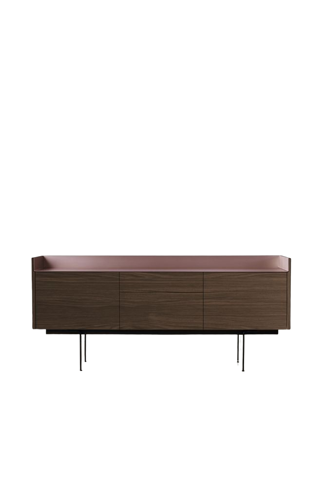 Dark Stained Walnut, Gold Anodised Aluminium, White RAL9016,Punt,Cabinets & Sideboards