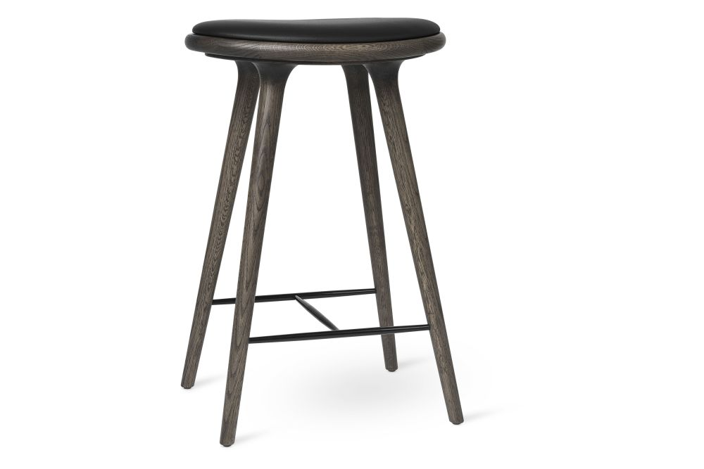 Dark Stained Solid Oak, Black Leather, 69H,Mater,Stools