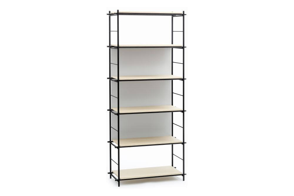 Black Epoxy Laquered Metal, Natural Varnished Oak, Grey Lacquered,Coedition,Bookcases & Shelves