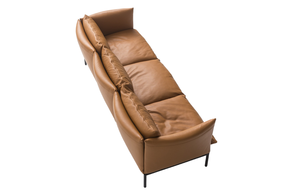 B0035 - Leather Neon - T, Stainless Steel,Moroso,Sofas,beige,brown,chair,chaise longue,comfort,couch,furniture,leather,tan