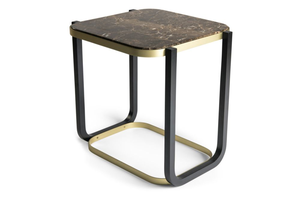 Black Tinted Glass, Black/Brass Plated,Wiener GTV Design,Coffee & Side Tables