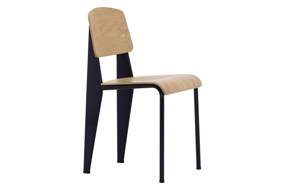 10 natural oak with protective varnish, 04 glides for carpet, 12 Deep Black powder-coated,Vitra,Dining Chairs
