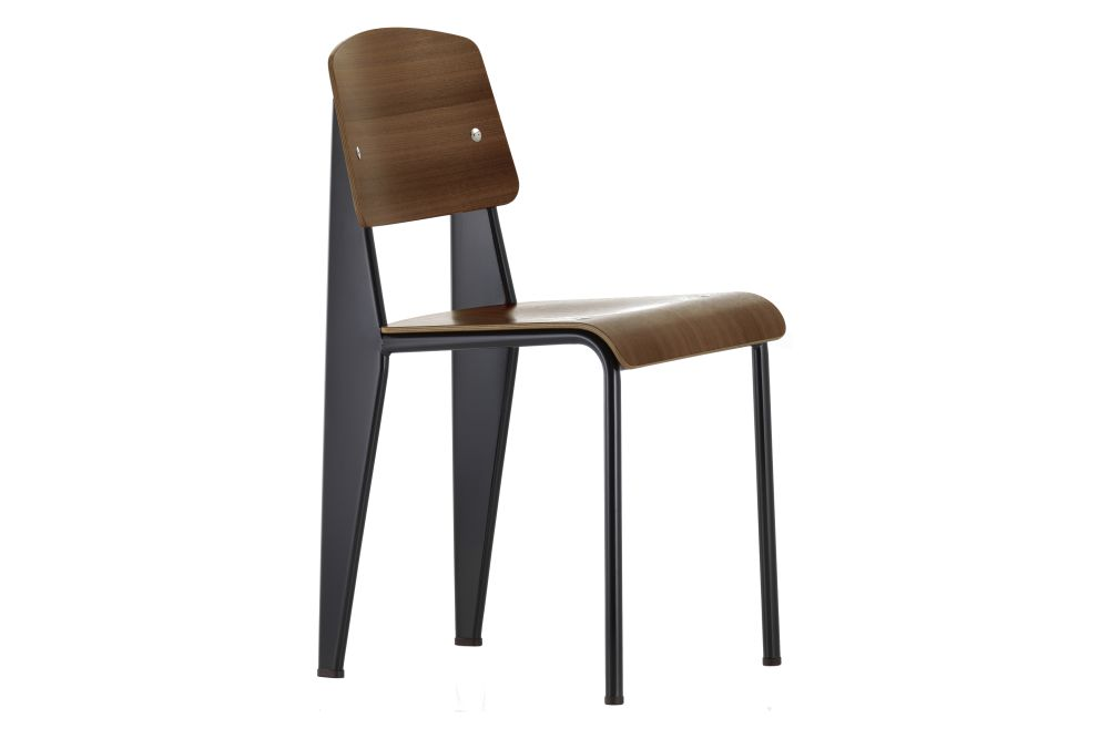 04 dark oak with protective varnish, 04 glides for carpet, 12 Deep Black powder-coated,Vitra,Dining Chairs