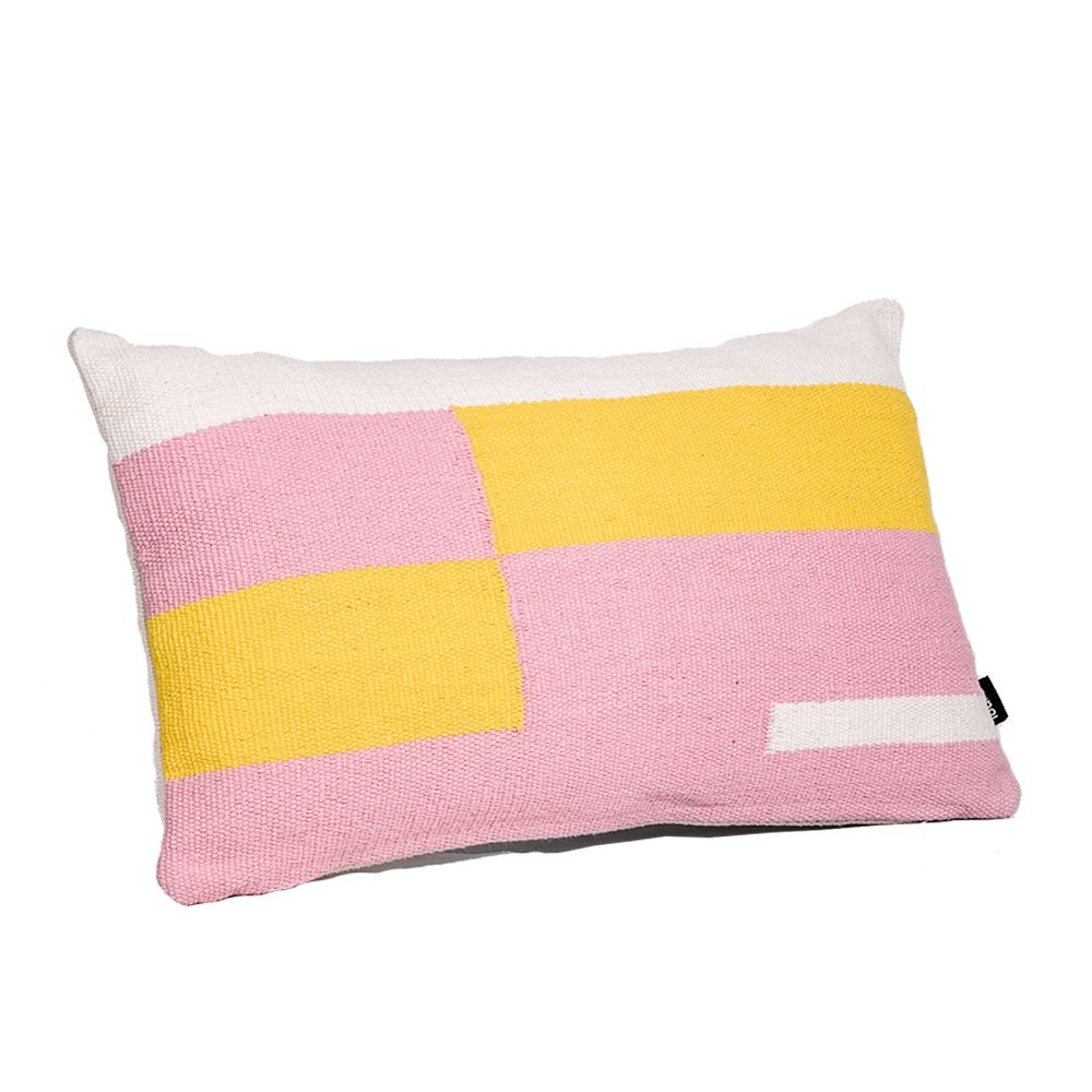 Jamakhan Stripe, Pink & Yellow, Rectangle,Tiipoi,Cushions,cushion,design,furniture,linens,pillow,pink,product,textile,throw pillow,yellow