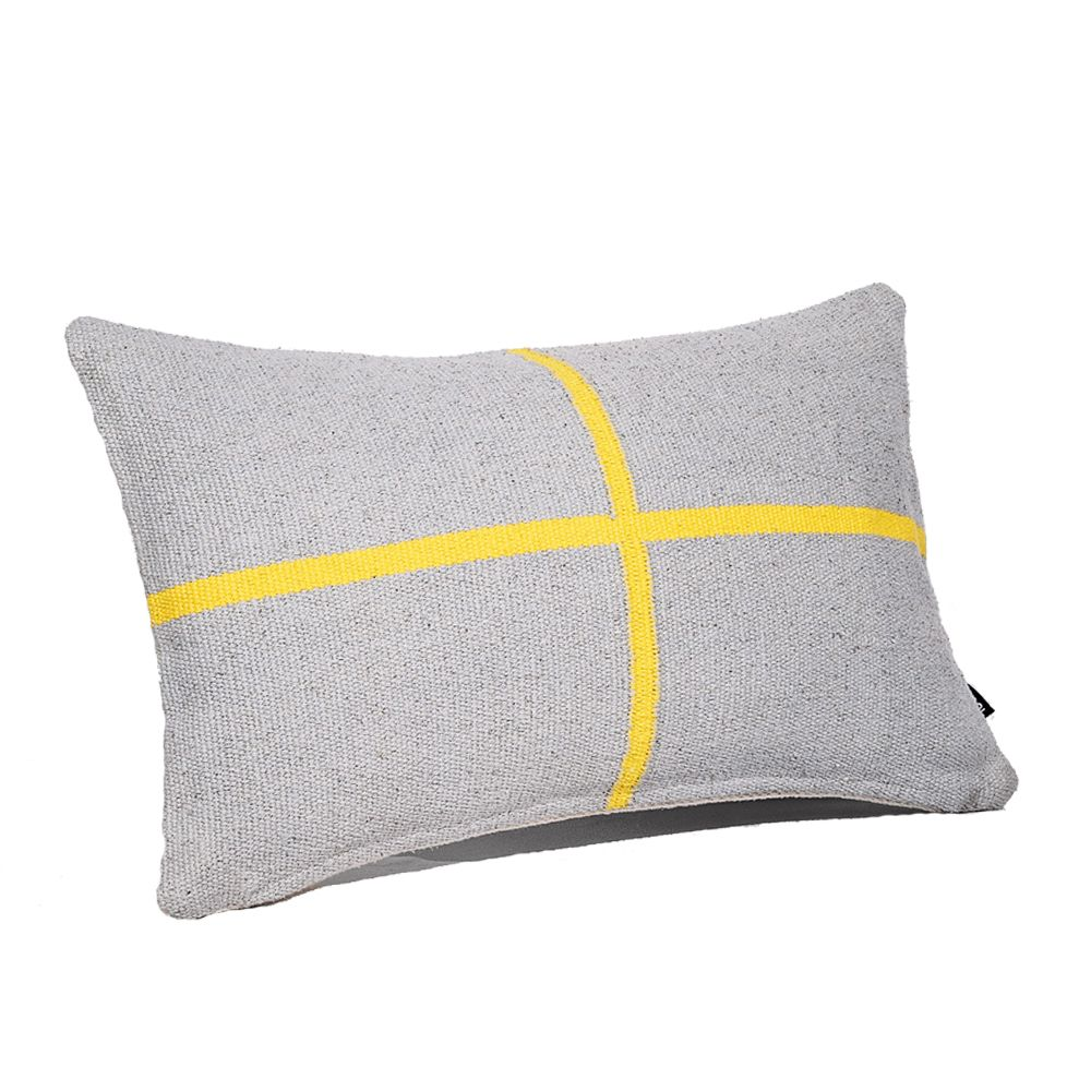Jamakhan Cross, Grey & Yellow, Rectangle,Tiipoi,Cushions,bedding,cushion,furniture,grey,linens,pillow,product,room,textile,throw pillow,yellow