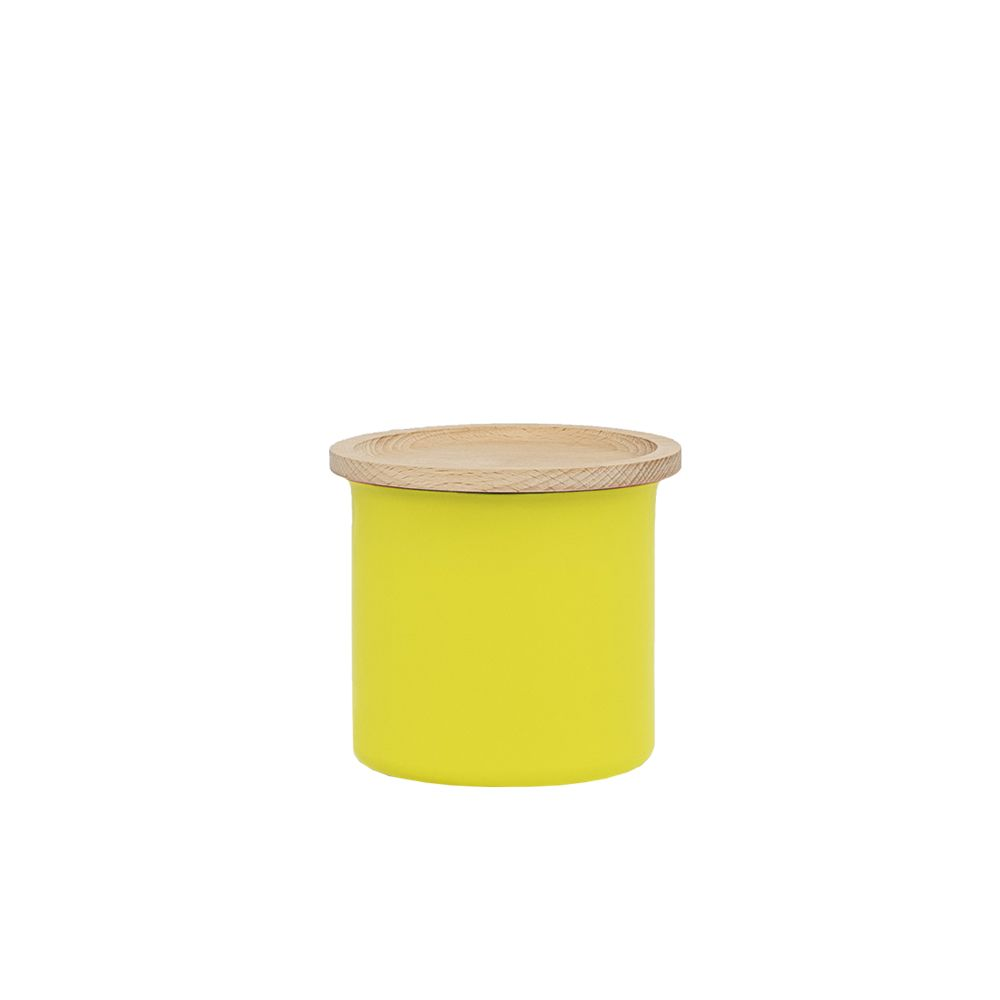 Yellow with Wooden Lid, 0.5L,Tiipoi,Small Storage & Organizers,cylinder,table,yellow