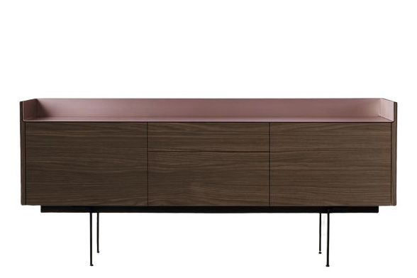 Dark Stained Walnut, Pale Rose Anodised Aluminium, Black RAL9005,Punt,Cabinets & Sideboards