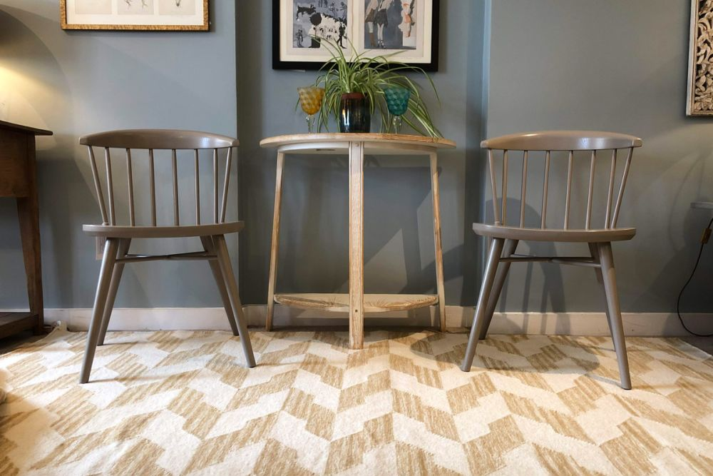 geometric rug in hall